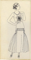 Paintings, GEORGES BARBIER (French 1882 - 1935). La Vie Parisienne fashion illustration. Ink on paper. 5.5 x 3 in.. Not signed...