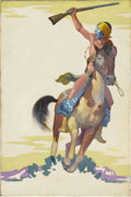 Mainstream Illustration, STUDLEY OLDHAM BURROUGHS (American 1892 - 1949). ApacheDevil, 1933. Oil on canvas. 29.5 x 20 in.. Signed lower right....