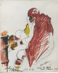 Mainstream Illustration, LEROY NEIMAN (American b. 1927). Bobby Bell, Kansas CityChiefs, October 10, 1967. Mixed media on paper. 14.5 x 12 in.....