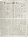 "Miscellaneous:Ephemera, [Civil War Newspaper] Chicago Tribune. Four pages, 21.5"" x29"", October 13, 1864, Chicago, with war news from severa..."