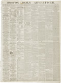 "Miscellaneous:Ephemera, [Civil War Newspaper] The Boston Daily Advertiser. Fourpages (in two cut sheets), 21.25"" x 29"", January 29, 1864, w..."