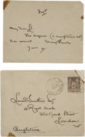 "Autographs:Artists, Aubrey Beardsley Autograph Letter Signed. One page, 4.5"" x 3.5"",with transmittal envelope postmarked September 30, 1897, Pa..."