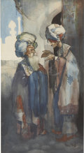 Works on Paper, RENE BULL (English 1872 - 1942). Two Arabs in Conversation. Watercolor and ink on paper. 12.5 x 6.75 in.. Signed lower r...