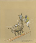 Mainstream Illustration, PAUL DESMOND BROWN (American 1893 - 1958). JockeyDismounting, 1942. Graphite and colored pencil on paper. 11.5 x10 in....