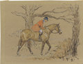 Mainstream Illustration, PAUL DESMOND BROWN (American 1893 - 1958). Fox Hunt. Ink andcolored pencil on paper. 9.25 x 12.25 in.. Signed lower rig...
