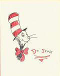 Paintings, THEODOR SEUSS GEISEL (Dr. Seuss) (American 1904 - 1991). Cat in the Hat specialty drawing. Ink and colored marker on pap...