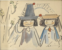 LUDWIG BEMELMANS (American 1898 - 1962) Madeline specialty drawing, 1956 Ink and watercolor on paper