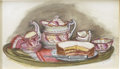 Paintings, TASHA TUDOR (American 1915 - 2008). Still Life with Cake, 1990. Mixed-media on paper. 4 x 6 in.. Signed lower right. ...