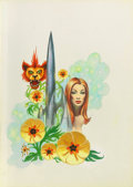 Pulp, Pulp-like, Digests, and Paperback Art, FRANK KELLY FREAS (American 1922 - 2005). Flower of Doradil,paperback cover, 1970. Acrylic on board. 16.5 x 12 in.. Sig...