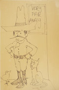 Mainstream Illustration, MAURICE SENDAK (American b. 1928). Man with Sombrero Sketch,May 1980. Ink marker on paper. 36 x 24 in.. Signed lower ri...