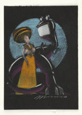 Mainstream Illustration, VICTOR MOSCOSO (American b. 1936). Lady and Dinosaur.Colored pencil on black paper. 11 x 8 in.. Signed lower right. ...