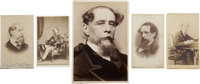 [Charles Dickens]. Lot of Five Photographs, including: Five carte-de-visite sepia-toned images ranging in
