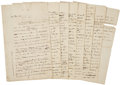 "Autographs:Statesmen, Philip Schuyler Draft Autograph Letter to George Washington. Eight pages, two sided, 7.25"" x 12"", n.p. [Morristown, NJ], May..."