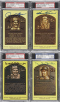 Autographs:Post Cards, Gold Hall of Fame Plaques Signed Postcards PSA/DNA CertifiedCollection (4). ...