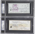 Autographs:Checks, Baseball Hall of Famers Autographed Checks PSA Gem Mint 10Collection (2)....