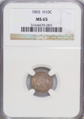 Seated Half Dimes, 1865 H10C MS65 NGC....