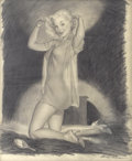 Pin-up and Glamour Art, HARRY EKMAN (American 1923 - 1999). Girl Fixing Her Hair, pinuppreliminary. Graphite on paper. 20.5 x 16.5 in.. Signed ...