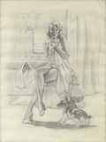Pin-up and Glamour Art, VAUGHAN ALDEN BASS (American 20th Century). A-Cute Situationpinup preliminary drawing, 1953. Graphite on paper. 16 x 12...(Total: 3 Items)
