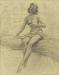 Pin-up and Glamour Art, HARRY EKMAN (American 1923 - 1999). Out in the Open, pinuppreliminary. Graphite on paper. 19.5 x 15.5 in.. Signedlower... (Total: 2 Items)
