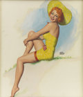 Pin-up and Glamour Art, EARL MORAN (American 1893 - 1984). Yellow Hat pinupillustration. Watercolor on paper. 19 x 16 in.. Signed rightcenter...