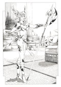 Pin-up and Glamour Art, RALY (20th Century). Female Warrior, 2001. Ink on paper. 15x 10.5 in.. Signed at right. ...