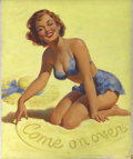 Pin-up and Glamour Art, ART FRAHM (1907-1984). Come On Over pinup illustration. Oilon board. 24 x 19.5 in.. Signed with initials lower left. ...