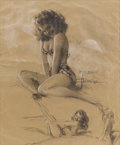 Pin-up and Glamour Art, ROLF ARMSTRONG (American 1889 - 1960). Beach Studies of OlgaBogach. Mixed-media on paper. 27.5 x 22.5 in.. Signed lowe...