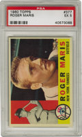 Baseball Cards:Singles (1960-1969), 1960 Topps Roger Maris #377 PSA EX 5. Roger Maris is captured hereduring the most important time in his career -- after co...
