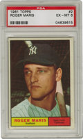 Baseball Cards:Singles (1960-1969), 1961 Topps Roger Maris #2 PSA EX-MT 6. This great #2 card wasissued just prior to Roger Maris' historic 1961 season. Fresh...