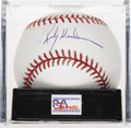 Autographs:Baseballs, Rickey Henderson Single Signed Baseball, PSA Mint 9. The undisputedking of the stolen base provides a near flawless exempla...