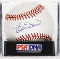 Autographs:Baseballs, Bobby Doerr Single Signed Baseball, PSA NM-MT+ 8.5. Long-time RedSox star and Hall of Fame teammate of Ted Williams has app...