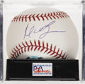 Autographs:Baseballs, Manny Ramirez Single Signed Baseball, PSA NM-MT+ 8.5. The quirkyRed Sox star and 2004 WS MVP gives us this OML ball adorne...
