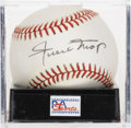 Autographs:Baseballs, Willie Mays Single Signed Baseball, PSA NM-MT+ 8.5. The exceptionalfive-tool master Willie Mays makes the offered OAL (Bro...