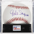 Autographs:Baseballs, Gale Sayers Single Signed Baseball, PSA Mint+ 9.5. Unique sweetspot signature from football HOFer Gale Sayers appears on th...