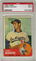 Baseball Cards:Singles (1960-1969), 1963 Topps Sandy Koufax #210 PSA EX 5. The impressive imagery the 1963 Topps baseball issue is known for is on full display...