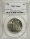 Kennedy Half Dollars: , 1971 50C MS66 PCGS. PCGS Population (80/6). NGC Census: (20/4).Mintage: 155,164,000. Numismedia Wsl. Price for NGC/PCGS co...