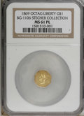 California Fractional Gold: , 1869 $1 BG-1106 MS61 Prooflike NGC. (#710917)...