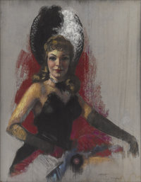 ZOE MOZERT (American 1904 - 1993) Can-Can Girl, c. 1940-43 Pastel on paper 34.5 x 27 in. Signe