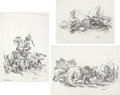 Mainstream Illustration, GINO D'ACHILLE (Italian b. 1935). Fantasy drawing, group ofthree. Pencil on vellum. 23 x 16.5 in.. Each signed, lower r...(Total: 3 Items)