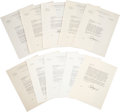Golf Collectibles:Autographs, 1941-42 Bobby Jones Signed Letters Lot of 10....