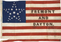 Political:Textile Display (pre-1896), Frémont & Dayton: A Wonderful Large 1856 Campaign Flag For theFirst Republican Presidential Ticket....