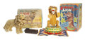 Antiques:Toys, Lot of Two Battery Operated Lions with the Original Boxes.... (Total: 2 Items)
