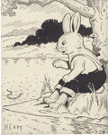 Mainstream Illustration, HARRISON CADY (American 1877 - 1970). Peter Rabbit, newspapercartoon illustration, July 28, 1955. Ink on paper. 6 x 4....