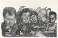Mainstream Illustration, DREW FRIEDMAN (American b. 1958). Talk Show Hosts, EntertainmentWeekly illustration. Ink and pencil on board. 7 x 11 in...