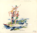 Paintings, LEROY NEIMAN (American b. 1927). Surfing, Poche Beach, Man at His Leisure Playboy illustration, July 1967. Acrylic on pa...