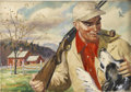Mainstream Illustration, ARTHUR FULLER (American 1889 - 1966). Hunter and Dog.Watercolor on board. 18 x 26 in.. Signed lower right. ...