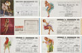 Non-Sport Cards:Singles (Pre-1950), 1940's Calendar Pin Up Blotters Group of (14). ...
