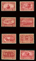 Stamps, #Q1-12, 1913, 1c - $1 Carmine Rose.... (Total: 6 Slab)