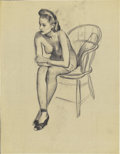 Pin-up and Glamour Art, GIL ELVGREN (American 1914 - 1980). Seated Nude, studiodrawing, c. 1956. Charcoal on vellum. 22 x 17 in.. Not signed....