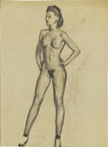 Pin-up and Glamour Art, GIL ELVGREN (American 1914 - 1980). Standing Nude, studiodrawing, c.1956. Charcoal on vellum. 22.5 x 16 in.. Notsigned...
